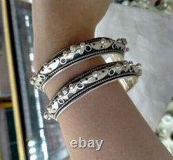 Pair Bracelets Vintage Sterling Silver 1000 Handmade North African Bangles