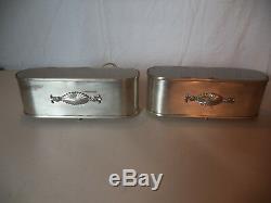 Pair Classic Vintage Art Deco Moderne Luminaire Silver Medallion Wall Sconces
