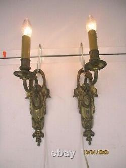 Pair Couple Vintage Ornate Brass Wall Sconces Lamps French Hollywood Regency