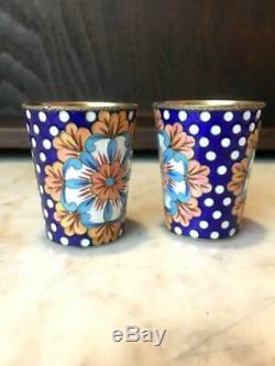 Pair Cups Vodka Shot Vintage USSR Russian Gilt Sterling Silver 916 Hot Enamel