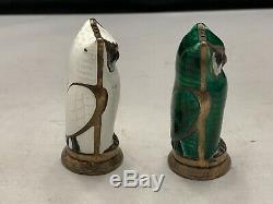 Pair David Andersen Owl Salt And Pepper Shakers Silver Enamel Norway Vintage