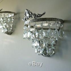 Pair FRENCH VINTAGE CHIC SILVER GILT DEMI LUNE glass CRYSTAL WALL LIGHTS
