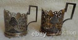 Pair Kubachi Vintage Soviet USSR Sterling Silver 875 Glass Tea Cup Holder 179 gr