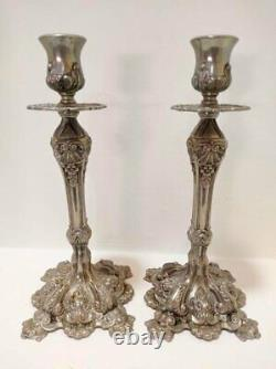Pair Large Ornate Silver Plated Candlesticks Rare Vintage Candle Holders Décor