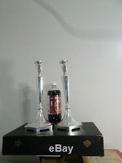 Pair Large Vintage Solid Sterling Silver Candlesticks, 787 Grams 25.30 Troy Oz