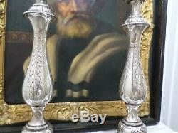 Pair Large Vintage Sterling Silver Candlesticks, Judaica Sabbath 925-1000 stamp