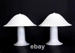 Pair Mushroom Murano Art Glass Lamp Effetre Vintage Hand Blown Italy Design 80s