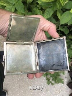 Pair Nice! Vintage Japanese 950 Sterling Silver Cigarette Case & Compact