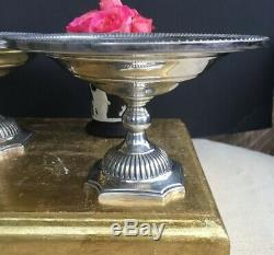 Pair Of Antique Vintage English Sterling Silver Small Compotes Bowls Tazzas