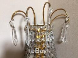 Pair Of European Crystal 3 Bulb Vintage Wall Sconce Light Fixtures