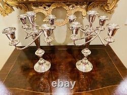 Pair Of Fisher STERLING Silver 5 Light Candelabras! Vintage Antique! GORGEOUS