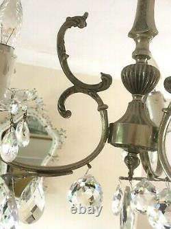 Pair Of French Vintage Marie Therese 3 Arm Glass Crystal Chandeliers