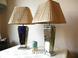 Pair Of Next Art Deco Style Bevelled Mirror Table Lamps With Vintage Shades
