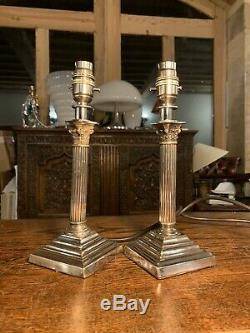 Pair Of Silver Plated Corinthian Pillared Nelsons Column Table Lamp