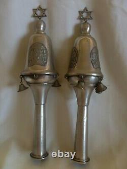 Pair Of Vintage 800 Silver Torah Scroll Grenades Bells Pomegranate- David Tower
