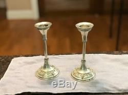 Pair Of Vintage Bier Israel Sterling Silver Candlesticks 12 CM