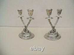 Pair Of Vintage Egyptian Sterling Silver Candelabra Dolphins Candlestick Ottoman