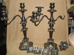 Pair Of Vintage Hallmarked Fancy Silverplate Candleabra