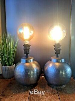 Pair Of Vintage Ikea Silver Hammered Finish Sphere Lamps 14299 Interior Design