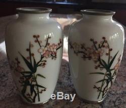 Pair Of Vintage Japanese Cloisonne Silver Wire Enamel White Vase