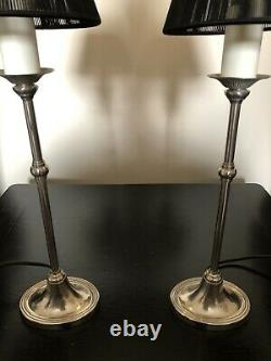 Pair Of Vintage Laura Ashley Candlestick Style Silver Lamp Bases & Black Shades