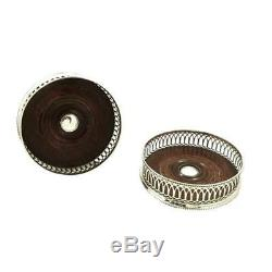 Pair Of Vintage Sterling Silver Wine/champagne Coasters 2003