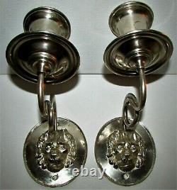 Pair / Set 2 Vintage or Antique Silver Plated Lion's Head Candle Wall Sconces