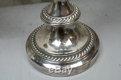 Pair Silverplate Candelabra 3 Arms Large Herringbone Trim Vintage Crown Mark