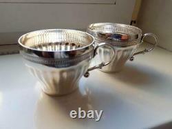 Pair Tea Coffee Cups Vintage Sterling Silver 925 Silverware Signed 316 gr