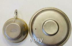 Pair Tea Cup & Saucer Vintage Soviet USSR Gilt Sterling Silver 875 Etching 116gr