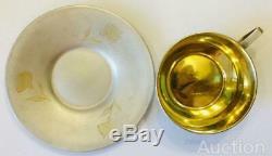 Pair Tea Cup & Saucer Vintage Soviet USSR Gilt Sterling Silver 875 Etching 131gr