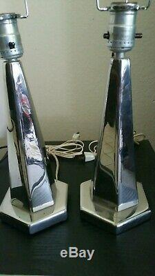 Pair VINTAGE 30s Machine Age ART DECO CHROME TABLE LAMPS/Shade Holder INDUSTRIAL