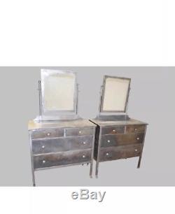 Pair VTG Art Deco Industrial Dressers Vanity Chests Pier Mirror Metal Bel Geddes