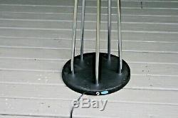 Pair VTG Mid Century Modern Chrome Glass Globe Floor Lamp Attrib Sonneman Rare