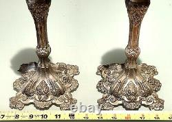 Pair Vintage Antique Silver Plate Judaica Candlestick Candelabra Candle Holders