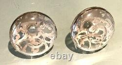 Pair Vintage Antique Sterling Silver Overlay Parfume Flask Bottle Decanter Jar