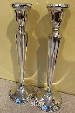 Pair Vintage Antique Sterling Silver Tall Candlesticks Candle Holders 11