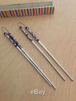 Pair Vintage Chinese Chopsticks Pure. 999 Silver & Blue Enamel Phoenix Fenghuang