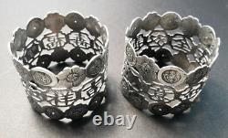 Pair Vintage Early 20th Century Chinese Silver Napkin Rings