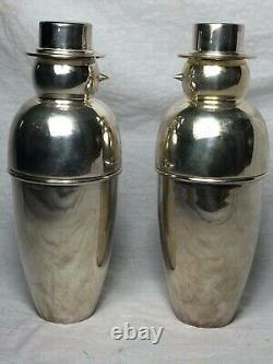 Pair Vintage English Art Deco Style Silver Snowmen Cocktail Bar Drinks Shakers