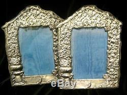 Pair Vintage Estate Ornate Hallmarked English Sterling Silver Photo Frames