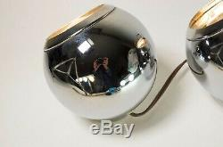 Pair Vintage George Kovacs MCM Wall to Wall Lamp Chrome Eyeball Magnetic Sconce
