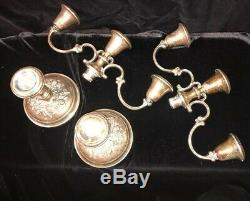 Pair Vintage Gorham Buttercup Sterling Silver Weighted 3 Arm Candelabras #998