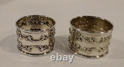 Pair Vintage Gorham Strasbourg Sterling Silver Napkin Rings MG