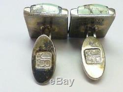 Pair Vintage JAMES REID 925 Sterling Silver Turquoise Cufflinks Santa Fe NM
