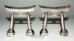 Pair Vintage Japanese Silver Gate Motif Salt & Pepper Shakers (MaH)