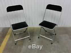 Pair Vintage Mid Century A. Fritz & Co Metal Folding Chairs Silver With Black Velv