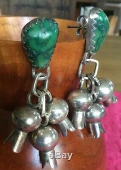 Pair Vintage Navajo Silver/turquoise Squash Earrings