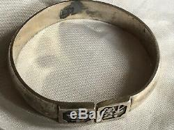 Pair Vintage Oriental Chinese Silver Plate Bracelet Bangles Dragons Repousse