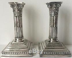 Pair Vintage Silver Corinthian Column Candlesticks-meriden